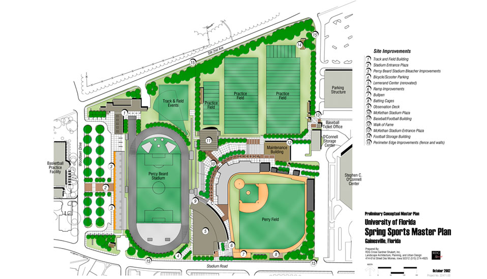 University of florida spring sports master plan rdg planning design for Sports complex planning design