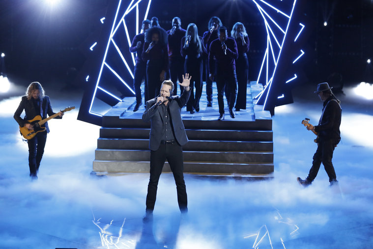 """THE VOICE -- """"Live Semis"""" Episode 917A -- Pictured: Barrett Baber -- (Photo by: Tyler Golden/NBC)"""